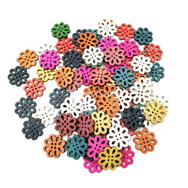 多色 ボタン 中空 花 4穴 木製 手芸用品 手作り 約100ピース