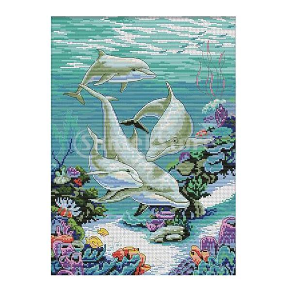 海の魚の世界は数えられた子供の刺繍11のための十字のステッチキットを刻印