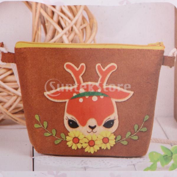DIY不織フェルトアップリケ飾りキット手作りコインバッグ財布 - 鹿|stk-shop