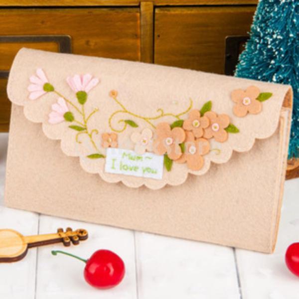 女の子の子供のための手作りの不織布小銭入れ財布フェルトアップリケキット|stk-shop