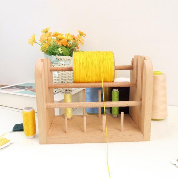 ウッド11スプールミシン糸ラックホルダー-糸オーガナイザースタンドホルダー-刺〓、キルティング、編み物用ミシンスプールホルダー