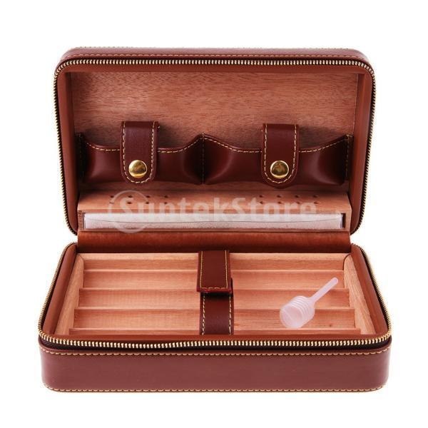 Sharplace ガーヒュミドール シガーケース 携帯便利 レザー表面 葉巻愛好家 3色選ぶ ビジネス プレゼント - スタイル2