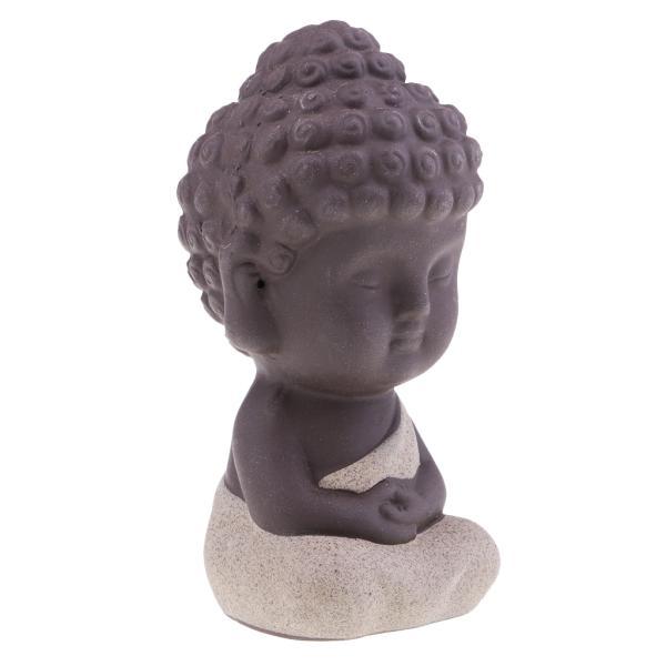 セラミック小さな仏像インドのヨガの曼荼羅の彫刻の装飾品ベージュ