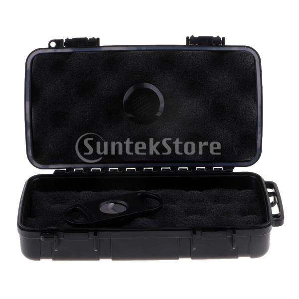 収納ボックス ヒュミドール シガーカッター付き 耐久性 防水性 耐衝撃性 葉巻箱 旅行用 喫煙具