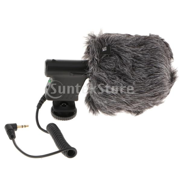 Baoblaze ミニ 指向性コンデンサーマイク 録音マイク DSLR ビデオカメラ用 マイク風防付き 標準3.5mm