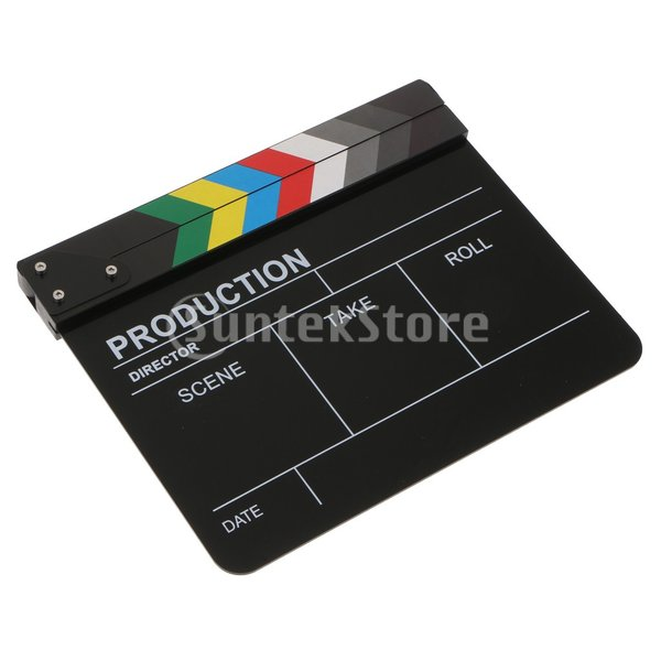 FLAMEER 撮影小道具 カチンコ ビデオ撮影 監督 カチンコ 黒板 ドライ拭き取り ハリウッド風 アクリル&木製