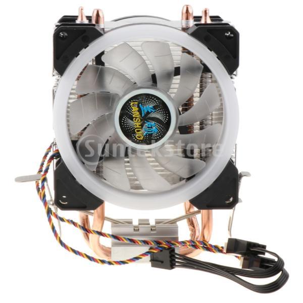 H HILABEE CPUファン 二重ファン LEDライト 2銅ヒートパイプ CPUクーラー 静音 4線式 散熱器 ヒートシンク 冷却ファン|stk-shop