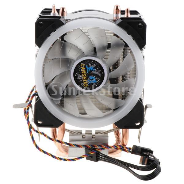 H HILABEE CPUファン 二重ファン LEDライト 2銅ヒートパイプ CPUクーラー 静音 4線式 散熱器 ヒートシンク 冷却ファン|stk-shop|03