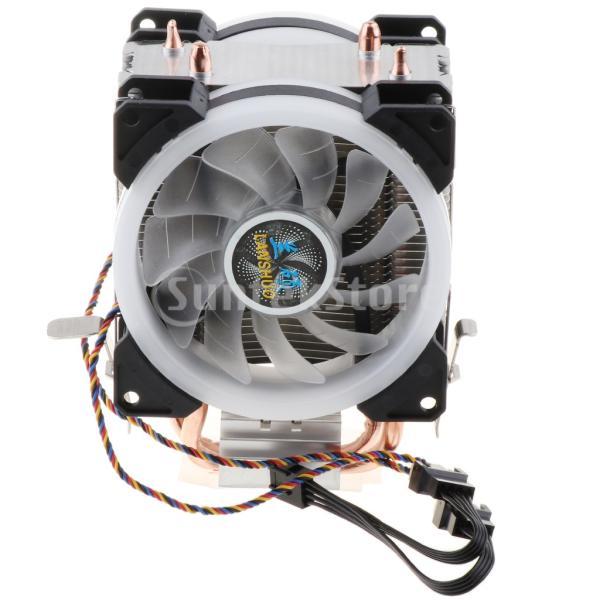 H HILABEE CPUファン 二重ファン LEDライト 2銅ヒートパイプ CPUクーラー 静音 4線式 散熱器 ヒートシンク 冷却ファン|stk-shop|06