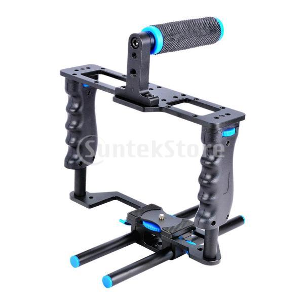 DSLR用トップハンドルグリップと15 mmロッド付きカメラケージフィルムムービー作成キット
