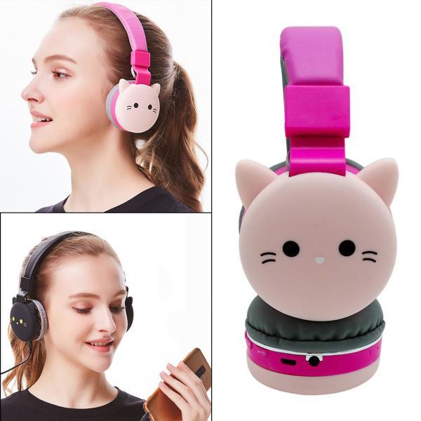 学校/タブレット/ PCピンクの猫のためのマイク付き耳イヤホン上のヘッドフォン