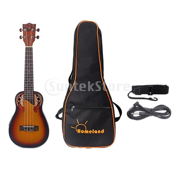 1セットスプルース23インチコンサートウクレレハワイギター収納バッグストラップ6.35mmプラグケーブル|stk-shop