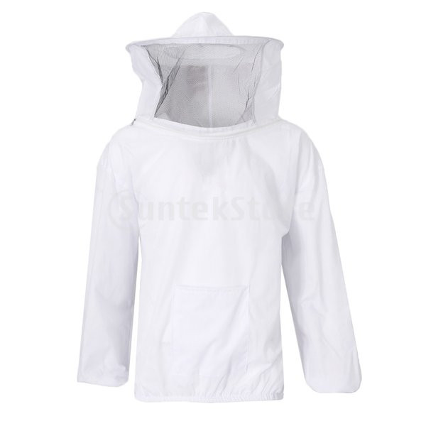 B Blesiya 帽子 ヴェール 伸縮性袖口 安全 養蜂 保護服 ホワイト