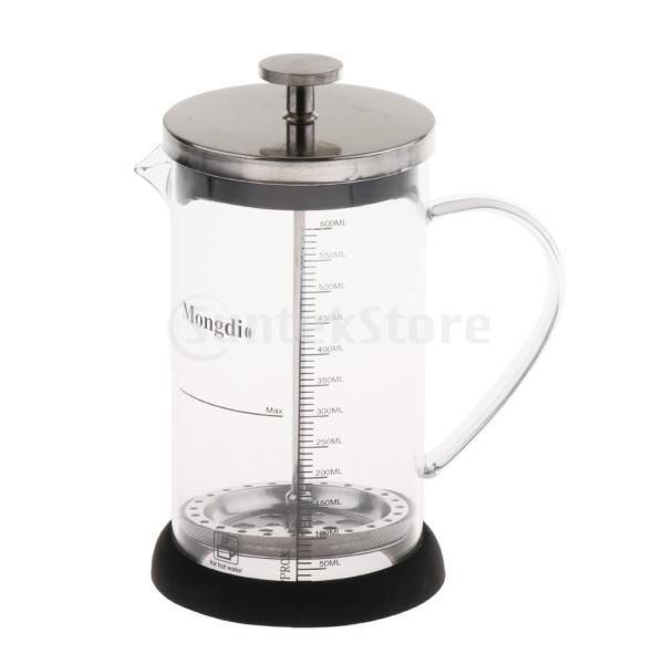 Fenteer フレンチプレスコーヒーメーカー ステンレスフィルター フレンチプレス 600ml コーヒー/お茶 多用途 健康的 耐熱性|stk-shop