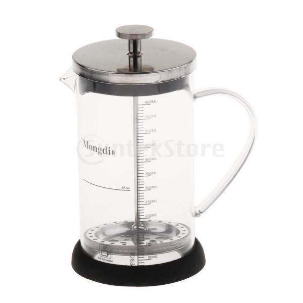 Fenteer フレンチプレスコーヒーメーカー ステンレスフィルター フレンチプレス 600ml コーヒー/お茶 多用途 健康的 耐熱性|stk-shop|05