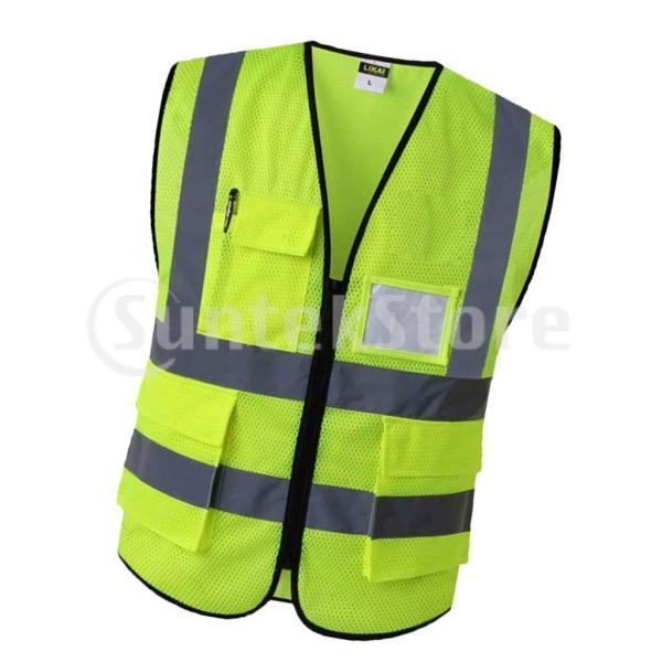 反射安全ベストエンジニア建設用ギア.ポケット付きイエローs