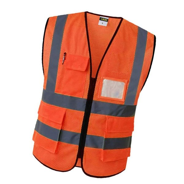反射安全ベストエンジニア建設ギア.ポケットオレンジs