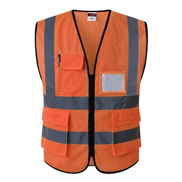 反射安全ベストエンジニア建設ギア.ポケット付きオレンジm