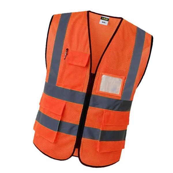 反射安全ベストエンジニア建設ギア.ポケットオレンジl