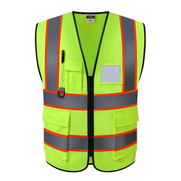 反射安全ベストエンジニアの建設用ギアベストポケット付きイエロー