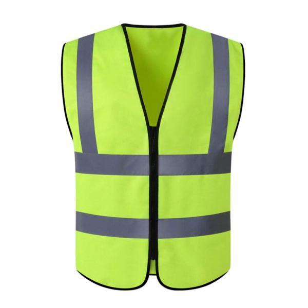 反射ストリップ蛍光黄色の高視認性ジッパー安全ベスト