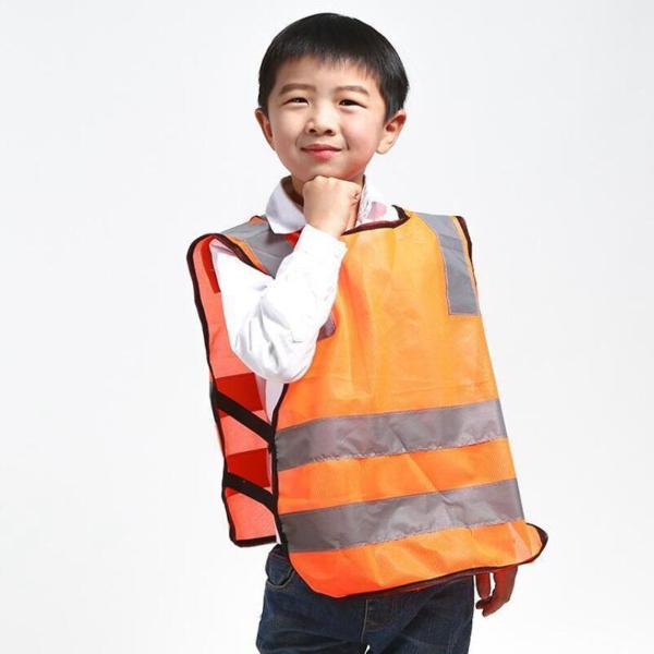オレンジ 子供の交通安全ベスト キッズリフレクティブベスト交通安全ノースリーブ