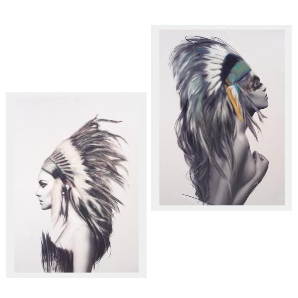 2pcs現代美術油絵キャンバス画像カップルの壁の装飾50x70cm