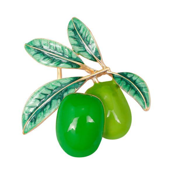 綺麗 オリーブモチーフ コサージュ 光沢 襟ピン スカーフクリップ ネクタイピン 1個 ユニセックス 誕生日 プレゼント 全2色