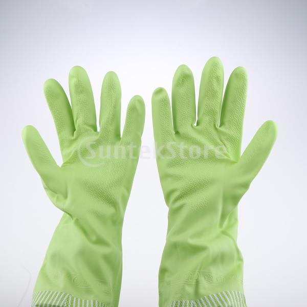 キッチンゴム手袋 裾絞り 長さ49cm ロング 防水 3カラー 再使用可能 台所食器洗い 洗車 洗濯 掃除|stk-shop|02