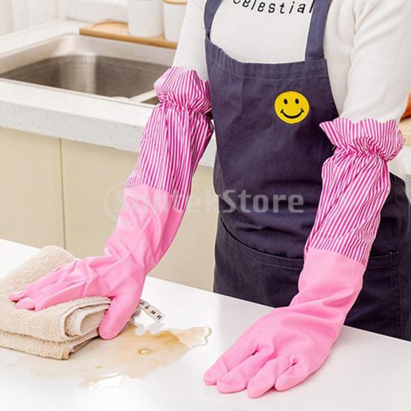 キッチンゴム手袋 裾絞り 長さ49cm ロング 防水 3カラー 再使用可能 台所食器洗い 洗車 洗濯 掃除|stk-shop|05