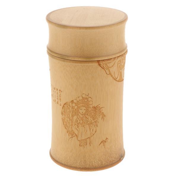 小麦粉、砂糖、茶、コーヒー、キッチンティーウェア、クッキージャー用の5.3オンス竹ラウンドジャーキッチンキャニスターストレージ