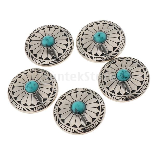 5本の円形の花のコンチョボタンは袋の財布のサドルのためにねじ込みます