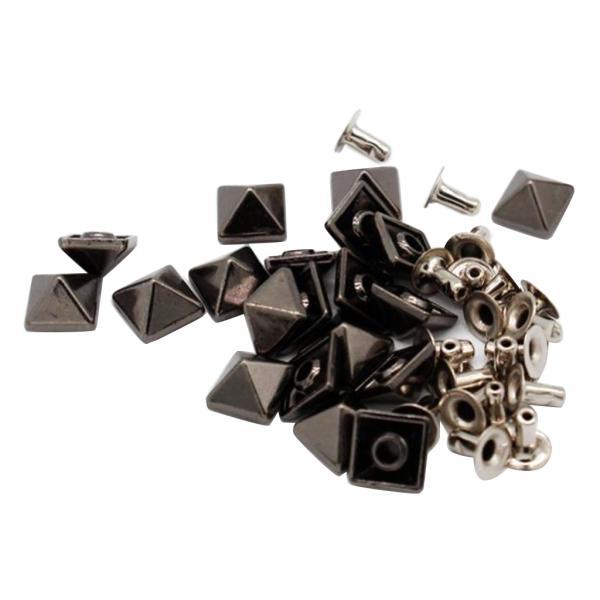 レザークラフト ピラミッド リベット スタッド スナップボタン 布革細工 手作り素材 20セット 全2色