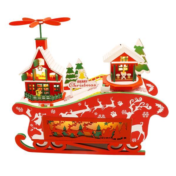 木製 DIY ドールハウス キット クリスマス LEDライト モデル ハンドおもちゃ付き 全5種類