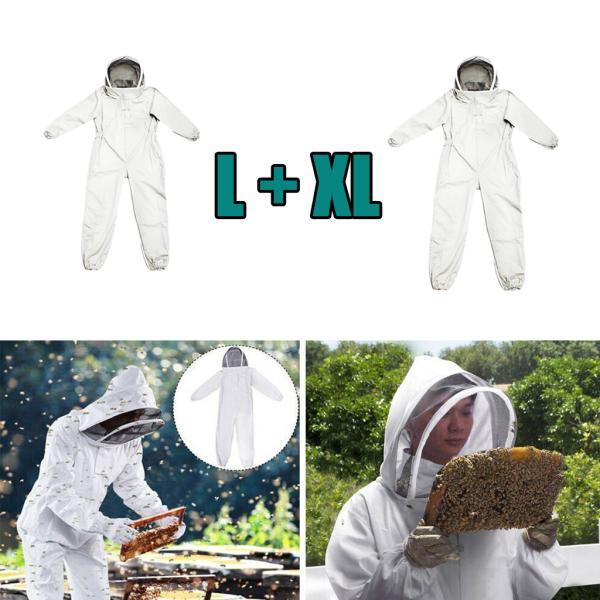 2ピース/個白養蜂家全身体型スーツ帽子袖蜂維持ジャケット
