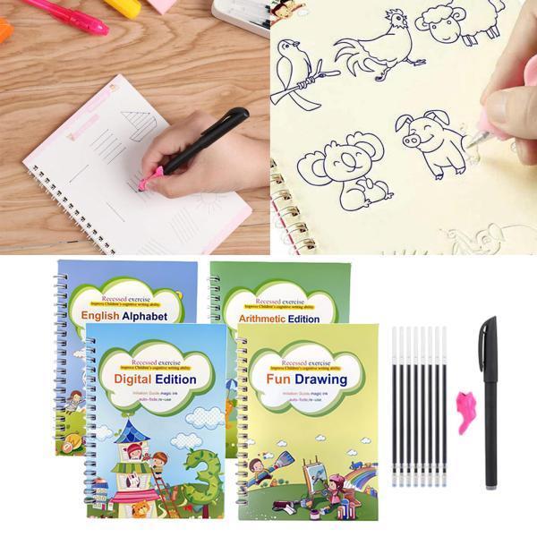 セット英語練習コピーブック.再利用手書きトレースブック.子供書道と練習コピーブック.描画実践幼児のための