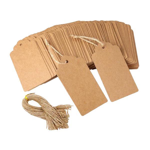 正方形のタグ.100個クラフト紙ギフトタグジュートひも.空白ハングタグ価格ラベル服ディスプレイクラフトプロジェクト.結婚式のパーティーギフト