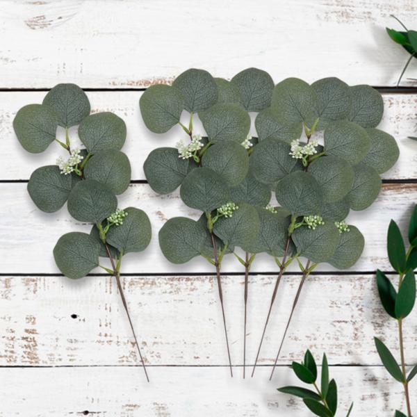 5個シルクユーカリ人工葉茎.屋内寝室リビングルームパーティーの装飾写真の小道具