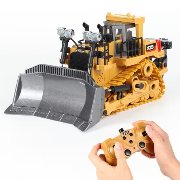 2.4グラム9チャンネルラジオコントロールrcブルドーザートラクターledライト&サウンド建設トラックエンジニア