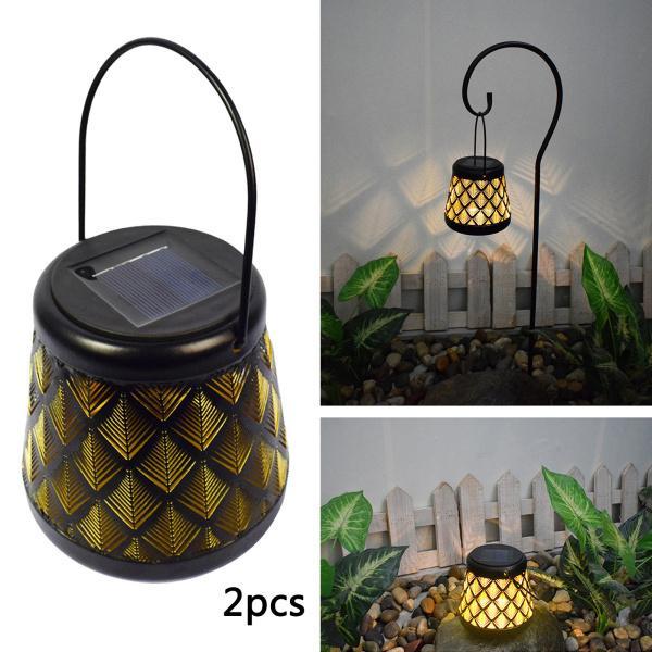 ハンドル付き屋外ハンギングソーラーランタンメタルクラフト装飾ガーデンライトパーティーテーブルランプ