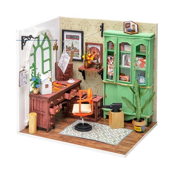 家具植物飾りセットLEDライトハウス付きDIYクリエイティブミニチュア木製ドールハウス女の子のための内蔵バッテリーパズル