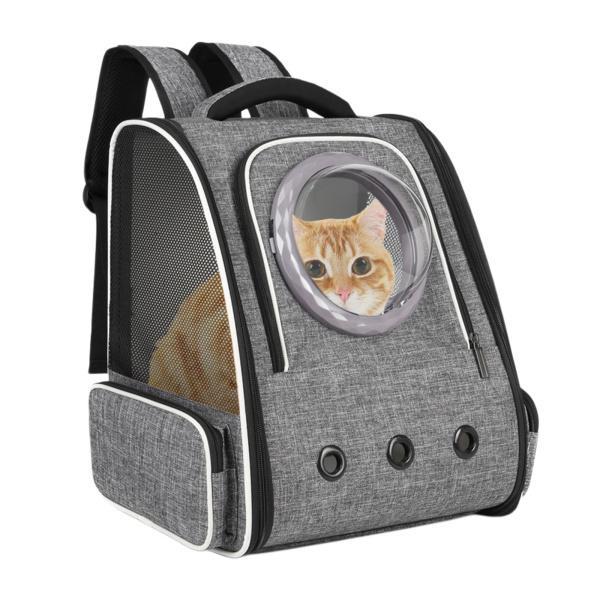 猫のバックパックキャリアバブルバッグ、小型犬用の犬の旅行用クレート犬小屋、スペースカプセルペットキャリア犬のハイキングバックパック屋外での使