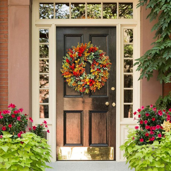 秋のガーランドユーカリの花輪のドアの装飾ハロウィーンフェスティバル