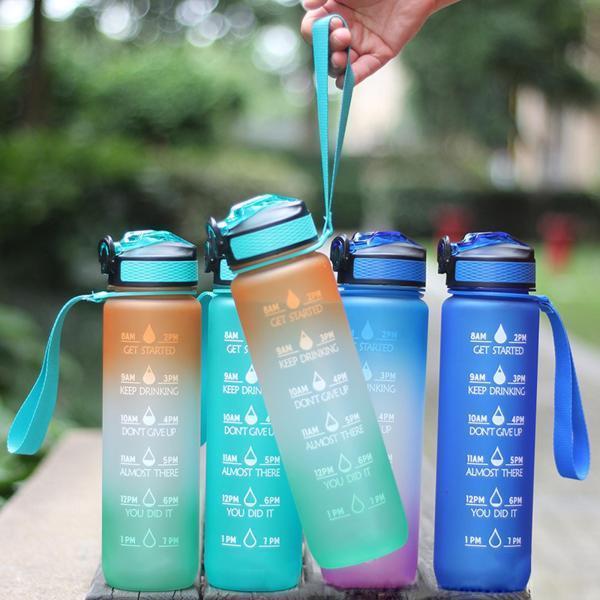 1L漏れ防止無料飲料水ボトル、モチベーションタイムマーカー付き、フィットネス、ジム、アウトドアスポーツ用のBPAフリー再利用可能ボトル