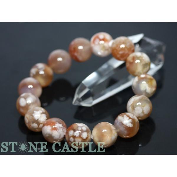 高品質 天然石 ブレスレット 桜瑪瑙 (3A) (約13.5〜14mm) (ケース付) パワーストーン