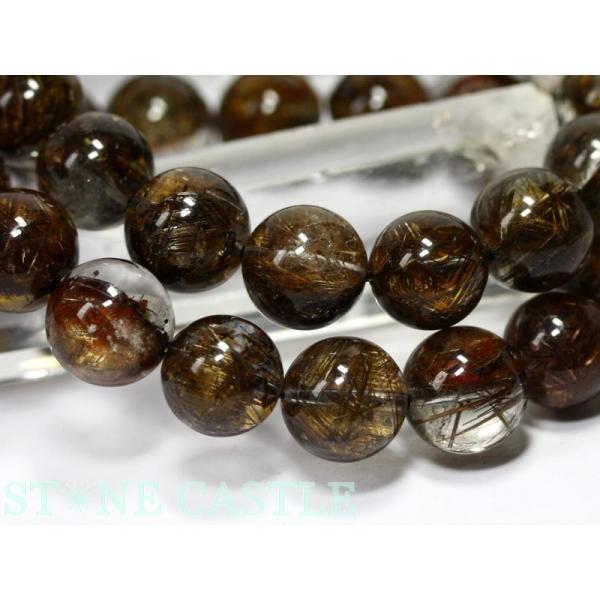 高品質 ブレスレット マイカ(雲母)入りルチルクォーツ (3A) (約12〜12.5mm) (ケース付) 天然石 パワーストーン