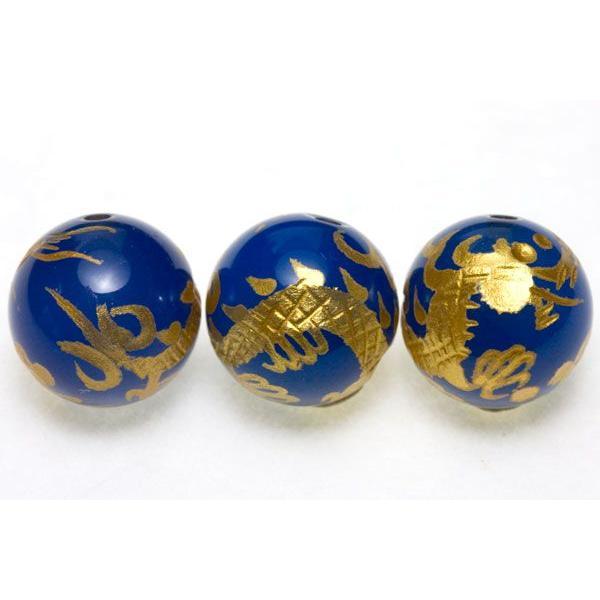 彫刻ビーズ ブルーメノウ 12mm (金彫り) 五爪龍 天然石 パワーストーン/ビーズ