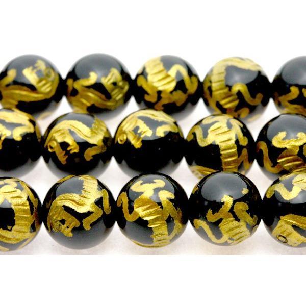 彫刻ビーズ オニキス 8mm (金彫り) 白虎 (一連売り) 天然石 パワーストーン