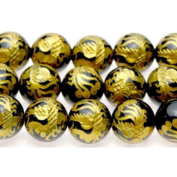 彫刻ビーズ オニキス 8mm (金彫り) 朱雀 (一連売り) 天然石 パワーストーン