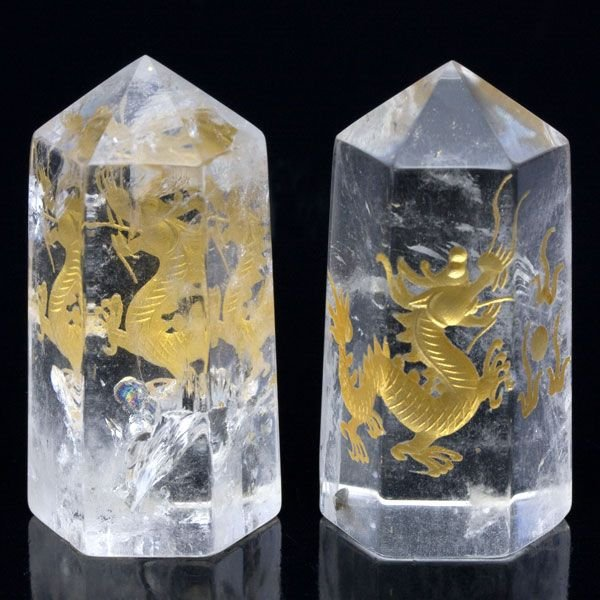 置物 インテリア 彫刻置物 水晶彫刻ポイント 五爪龍 25×50mm (金彫り) 天然石 パワーストーン